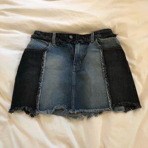 Mixed Denim Jean Skirt